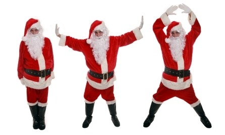 Three Santa's for one.  Perfect for animating.